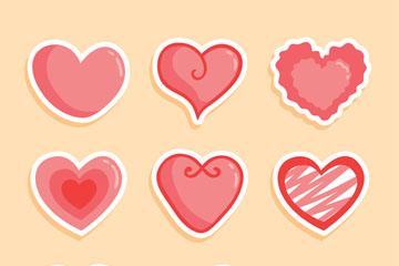9款粉色爱心贴纸矢量素材