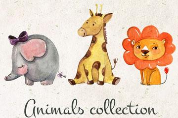 3款水彩绘动物设计矢量素材