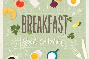 12款复古早餐食物俯视图矢量图