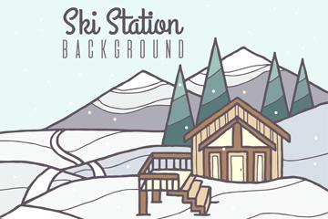 创意雪山上的滑雪木屋矢量图