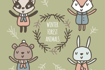 4款可爱伸出双手冬季森林动物矢量素材