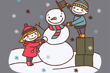 冬季堆雪人的2个孩子矢量素材