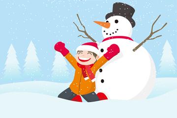 雪地玩耍的男孩和雪人矢量图