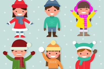 6款可爱冬季儿童矢量素材