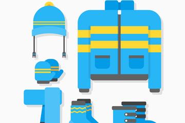 6款蓝色冬季外套和配饰矢量素材