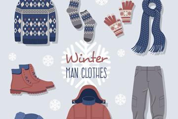 8款冬季男士服饰矢量素材
