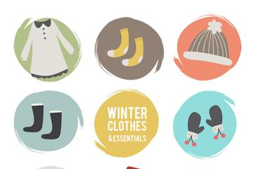 8款彩绘冬季服饰与配饰矢量图