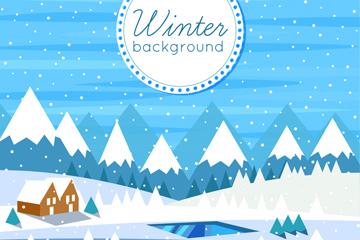 冬季郊外与木屋风景矢量素材