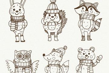 6款单色手绘冬季呆萌动物矢量素材