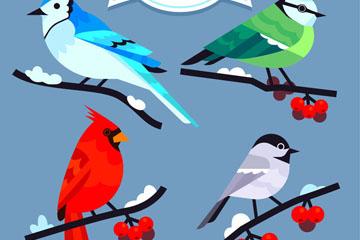 4款彩色冬季树枝上的小鸟矢量图