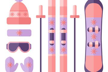7款粉色滑雪装备矢量素材