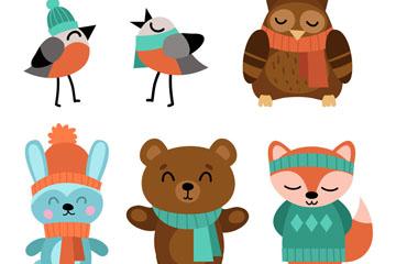 6款可爱冬装动物矢量素材