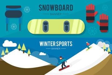 3款冬季运动元素banner矢量图