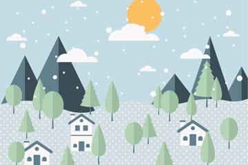 冬季雪中山和房屋矢量素材