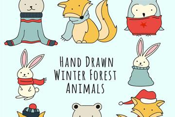 8款手绘可爱冬季森林动物矢量素
