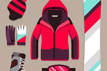 6款时尚单板滑雪装备设计矢量图