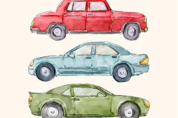 3款水彩绘轿车设计矢量素材