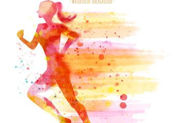 彩绘跑步女子剪影矢量素材