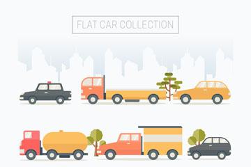 9款彩色扁平化车辆设计矢量图
