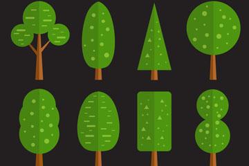 8款扁平化绿色树木设计矢量素材