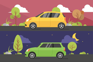 3款创意车辆行驶场景矢量素材