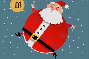 可爱雪中的圣诞老人矢量图