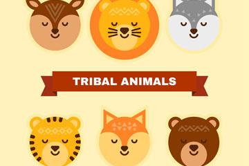 6款可爱闭眼动物头像矢量图