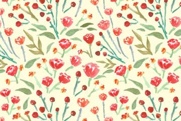 红色玫瑰花朵无缝背景矢量素材