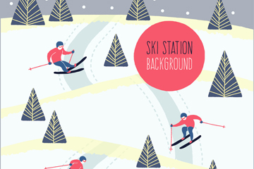 创意雪地滑雪的人物矢量素材