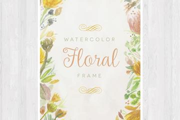 水彩绘花朵框架卡片矢量素材