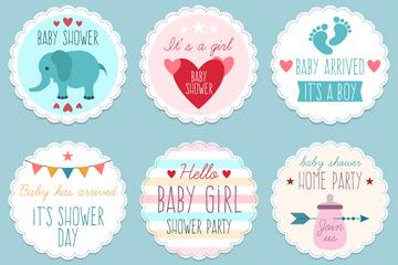 6款清新迎婴派对贴纸矢量素材