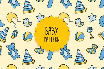 可爱婴儿用品无缝背景矢量图