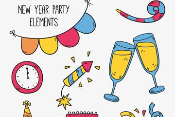 8款彩绘新年派对元素矢量图