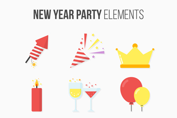 9款创意新年派对元素矢量素材