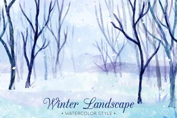水彩绘冬季雪地树林风景矢量图