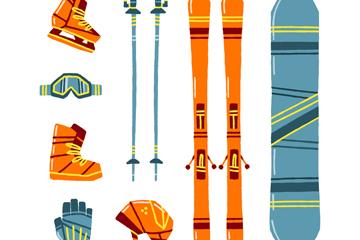 8款彩色花纹滑雪装备矢量图
