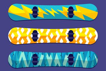 4款时尚花纹滑雪单板矢量素材