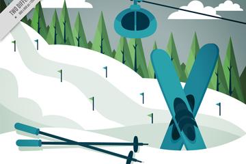 创意滑雪场滑雪缆车风景矢量图