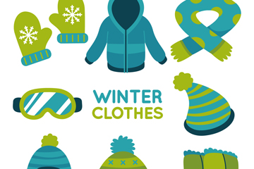 8款绿色系冬季服饰矢量图