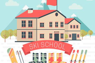 创意滑雪学校建筑矢量素材