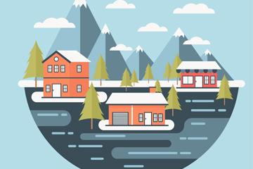 创意滑雪场建筑风景矢量图