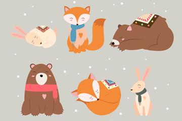 6款可爱冬季森林动物设计矢量图