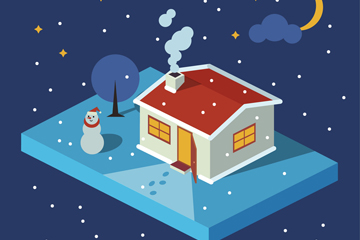 立体冬季夜晚房屋和雪人矢量素材