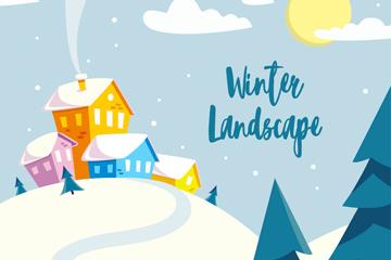 彩色冬季房屋雪景矢量素材