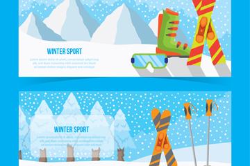 2款彩色滑雪元素banner矢量素材