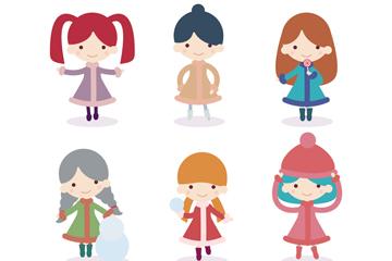 6款卡通冬季女孩形象矢量素材