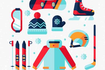 9款彩色冬季运动装备矢量素材