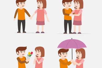 4款卡通情侣情景设计矢量素材