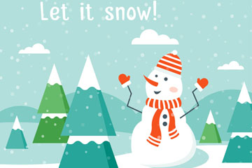 卡通雪中雪人和�淠臼噶克夭�
