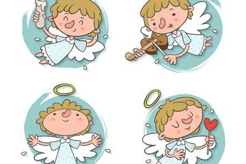 4款白色翅膀天使设计矢量素材
